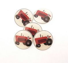 Red Tractor Buttons.  5 handmade SHANK buttons. by buttonsbyrobin, $11.99