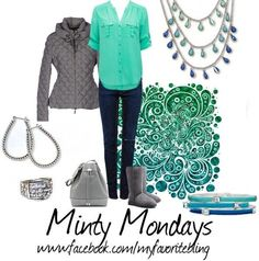 """One can never be blue on """"Minty Mondays"""" Pair up your favorite Pacific necklace, with those Ombre bracelets, and Bling up your look with some GREAT go anywhere accessories :)"""