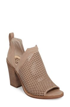 Free shipping and returns on Vince Camuto Kensa Peep Toe Bootie (Women) (Nordstrom Exclusive) at Nordstrom.com. Exclusive to Nordstrom, this smart nubuck leather bootie features a peep toe, perforated upper and side panels that dip low for an airy spring look. A stacked heel completes the modern style.
