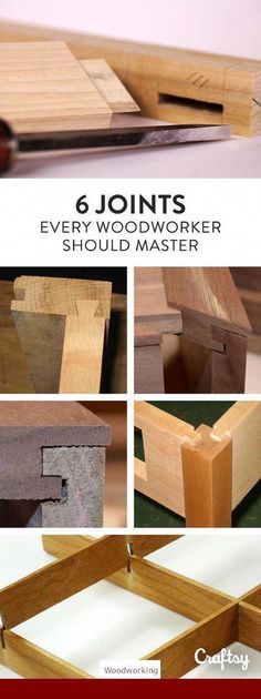 Woodworking Tips These 6 joints can be used in many projects or combined for interesting designs. Explore your options for joints here! - These 6 joints can be used in many projects or combined for interesting designs. Explore your options for joints here Woodworking For Kids, Woodworking Joints, Easy Woodworking Projects, Woodworking Techniques, Popular Woodworking, Diy Wood Projects, Teds Woodworking, Carpentry Projects, Woodworking Basics