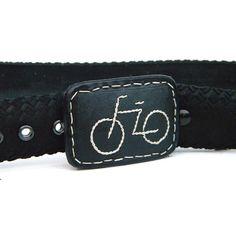 Bike Tire Belt, embroidered handmade leather, Hook Buckle