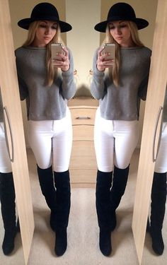 Topshop Ribbed Grey Sweater With Slit Sides, Miss Selfridge High Waisted Skinny Jeans, Office Over The Knee Suede Boots, River Island Bowler Hat