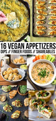 16 Fun Vegan Appetizers – Dips, Bites, and Shareables New Year's Eve is around the corner, and what better to serve at your gatherings than some fun, vegan appetizers? In this round up you'll find a variety of dips and finger foods ranging from light eats Vegan Finger Foods, Healthy Vegan Snacks, Vegan Foods, Vegan Dishes, Vegetarian Recipes, Healthy Recipes, Vegetarian Finger Food, Vegan Snacks On The Go, Vegetarian Italian