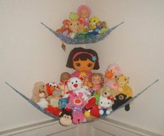 Use this free knitting pattern for a Toy Hammock to help organize your play room or kid's bedroom, and put stuffed animals in their place.: Knitting the Net