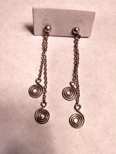 Long Vintage Spiral Chain Sterling Silver Chandelier Earrings Fringe by Glamaroni on Etsy