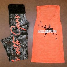 Mossy Oak Camo and Orange is the perfect outfit combination for any GWG! Pair the Girls With Guns Clothing Lounge Pants with the Blaze Orange Jumping Buck Tank.