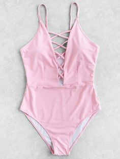 Criss Cross Deep V Neck Swimsuit Mobile Site - Bademode Cute Swimsuits, Two Piece Swimsuits, Women Swimsuits, Bathing Suits For Teens, Summer Outfits, Cute Outfits, Beach Attire, Pink Swimsuit, Bikini Swimwear