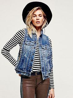 Free People Faux Fur Lined Denim Vest