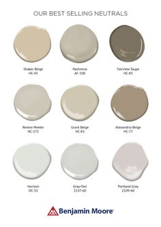 Benjamin Moore - Best selling neutrals: So many ways to do neutral. Soft hues like beige and gray create a calming atmosphere, while black and white introduces drama and flair. Here is a collection of our best selling neautral colors. Interior Paint Colors, Paint Colors For Home, Interior Design, Paint Colours, Neutral Colors, Calming Paint Colors, Interior Decorating, Neutral Style, Color Tones