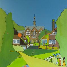 Marjolein Bresser - Poortgebouw academic hospital in Leiden, acrylics on canvas, 80x100cm *SOLD*