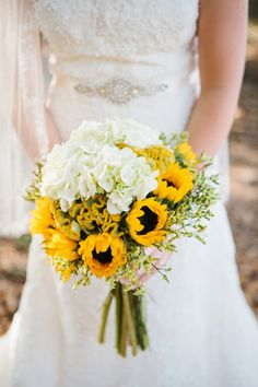 Southern Wedding Sunflower Bouquet and Beaded Dress