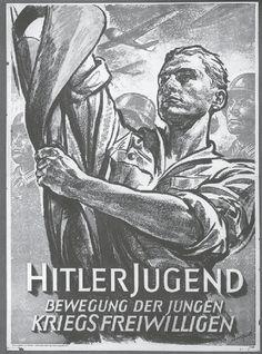 "Hitlerjugend - Plakat ""Hitlerjugend Bewegung der jungen Kriegsfreiwilligen"""