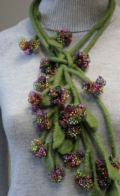 Sale off 15  Felted necklace Plant by doseth on Etsy, €57.00