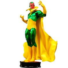 """Marvel Vision Premium Format Figure by Sideshow Collectibles. featuring a real fabric cape and Avengers themed display base, honoring the team he served faithfully for so many years. Each piece is hand painted and individually finished with the quality and attention to detail that is the trademark of a handcrafted Sideshow Collectibles product. Figure Measures: 20.5"""" H x 9.5"""" W x 6.0"""" L. Price: $314.99"""