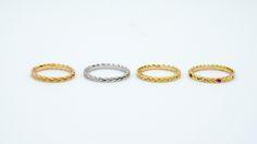Alliance tressée, en or rose blanc ou jaune 18 carats, avec ou sans pierres précieuses.