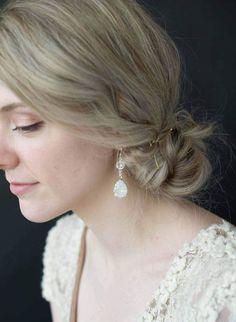 Luxe Dangle Poire Diamond Rose Gold Filled Women Lady Banquet mariage Boucles d/'oreilles