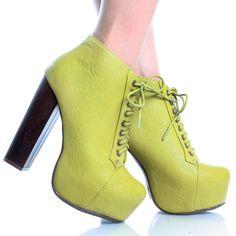 Green Lace Up Women Chunky High Heel Hidden Platform Ankle Booties