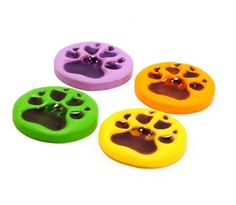 Polymer clay buttons neon dog paws set of four by Cofanetto, $10.50