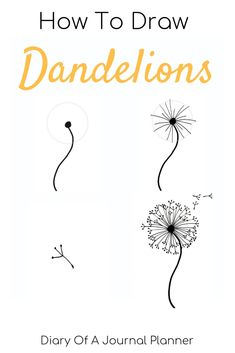 Find out how to draw a dandelion. We love flower doodles and the dandelion doodle is a simple drawing to try. Find out how to draw a dandelion. We love flower doodles and the dandelion doodle is a simple drawing to try. Dandelion Drawing, Flower Art Drawing, Flower Drawing Tutorials, Dandelion Art, Drawing Art, Flower Tutorial, Simple Flower Drawing, Easy Flower Drawings, Art Tutorials