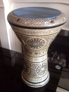 Vintage Alexandria Egypt Inlaid Mother of Pearl Doumbek Drum | Hand Made Art