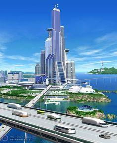 City of the Future Fantasy City, Sci Fi Fantasy, Unique Architecture, Futuristic Architecture, Future City, Sci Fi Stadt, Sci Fi City, Futuristic City, City Buildings