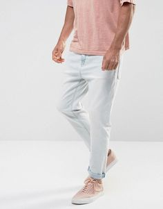 ASOS Tapered Jeans In Heavy Bleach Wash - Blue