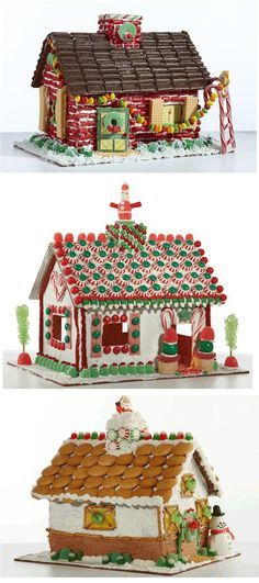 Christmas Gingerbread House Ideas...I love the first one with the candy cane ladder!
