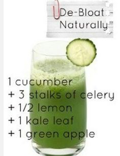 De-Bloat Naturally juice recipe: 1 cucumber, 3 stalks of celery, 1/2 lemon, 1 kale leaf, 1 green apple
