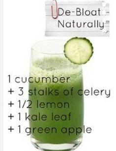 De-Bloat Naturally juice recipe: 1 cucumber, 3 stalks of celery, 1/2 lemon, 1 kale leaf, 1 green apple