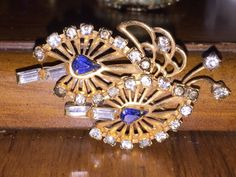 Vintage 12k Yellow Gold Filled White & Sapphire Blue Rhinestone Pin by Phyllis