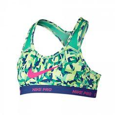 #LacrosseUnlimited Nike Pro Girls Youth Sports Bra In Lime & Purple. #lacrosse #nike