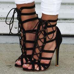Ericdress Black Hollow Out Lace Up Stiletto Sandals