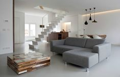Floating staircase & upcycled coffee table