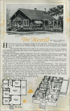 The Merrill - Aladdin Homes - Small House - Gabled roof 1920 Cottage Bungalow Bungalow Floor Plans, House Floor Plans, Vintage House Plans, Vintage Architecture, Craftsman Bungalows, Home Ownership, Kit Homes, Building Plans, Aladdin