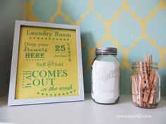 Bring life to a drab laundry room with these free printables. It's loads of FUN! #DIY #printables #homedecor