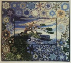 DREAMSCAPE: Echoes of the Wind by Mary Ann Lampe 2017. Panel One Block Wonder. Hexified Panel Quilt. Stacked six panels to make the hexagons. Strips were cut 2.5 inches for the 60 degree triangles to make the hexies.