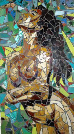 "Shower - $700. Glass & Mirror Mosaic - 17 1/2"" x 34"" 2009 - http://www.arttoyz.com/Gallery/Fine%20Art%20Media/Mosaic/Figure/Shower.JPG"