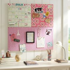 DIY fabric covered cork boards for her to pin up all of her stuff