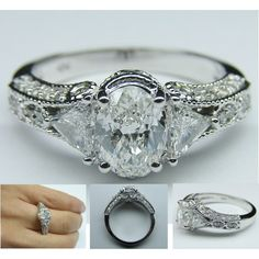 """""""Vintage Oval Diamond Engagement Ring"""" by mdc-diamonds on Polyvore"""