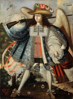 Arcángel arcabucero. Escuela de Cuzco -