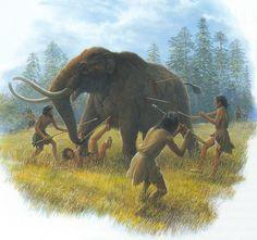 Artist's depiction of Clovis people hunting a Mastodon around years ago by Prehistoric World, Prehistoric Animals, Tribal Warrior, Early Humans, Dinosaur Art, Stone Age, Fauna, Animal Paintings, Mammals