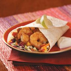 Spicy Shrimp Wraps. Make these yummy wraps in under 20 minutes. Great for a quick dinner or #healthy lunch!