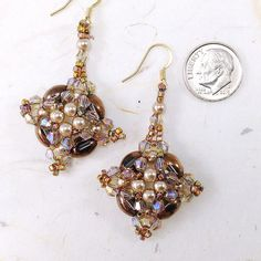 Gold Swarovski Crystal and Pearl Earrings Hand Beaded by myrawood