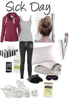 """Sick Day"" by deceptive-romantic ❤ liked on Polyvore    this is what I wish my sick day looked like!!!"