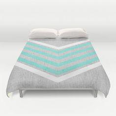 Gray Duvet Blanket Cover Modern Bedding Cool Contemporary Linens Blue Chevrons #Handmade #Contemporary