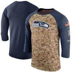 Men s Seattle Seahawks Nike Camo College Navy Salute to Service Sideline  Legend Performance Three-Quarter Sleeve T-Shirt b0bb2fe1f