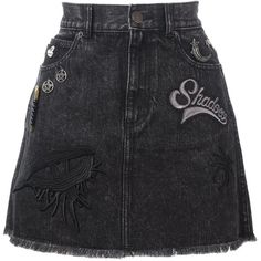 Marc Jacobs High-Waist Denim Skirt ($310) ❤ liked on Polyvore featuring skirts, black, high-waisted skirts, high waisted denim skirt, short denim skirts, embroidered denim skirt and high waisted skirts