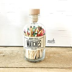 Farmhouse Home Decor Unique Gifts for her Best Seller Most Popular Item Match Sticks Decorative Mason Jar Teal Tip Colored Matches