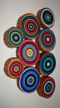 Tree Ring Art Set of 9 Custom Painted U by HeatherMontgomeryArt, $145.00