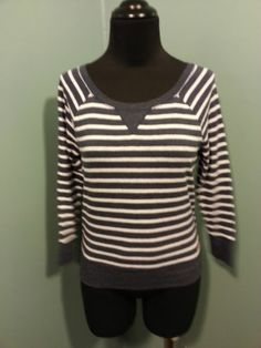 Hollister Navy Blue White Striped Scoop Neck Cotton 3/4 Sleeve Knit Top XS $18 Free Shipping!